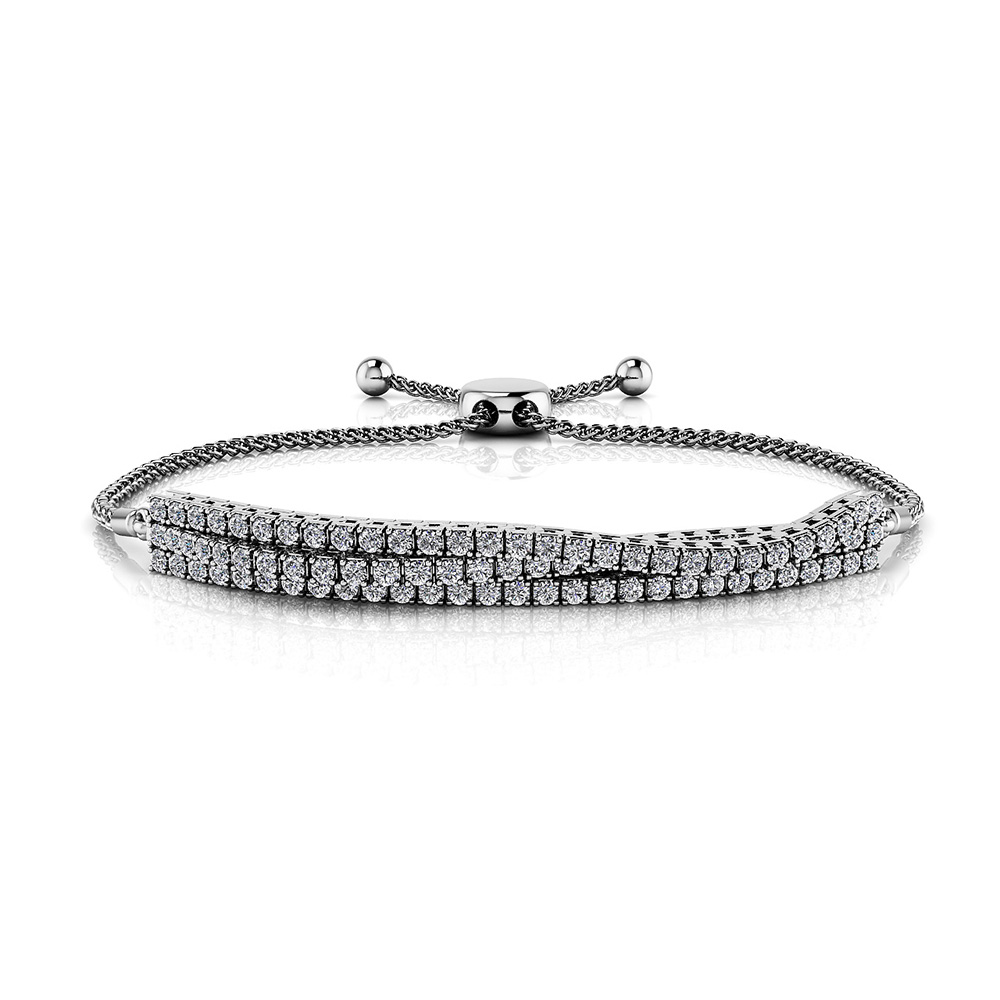 Image of Adjustable Triple Strand Flexible Diamond Bracelet