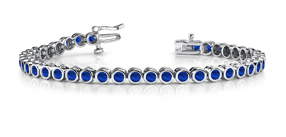 Image of Classic Round Bezel Set Gemstone Bracelet