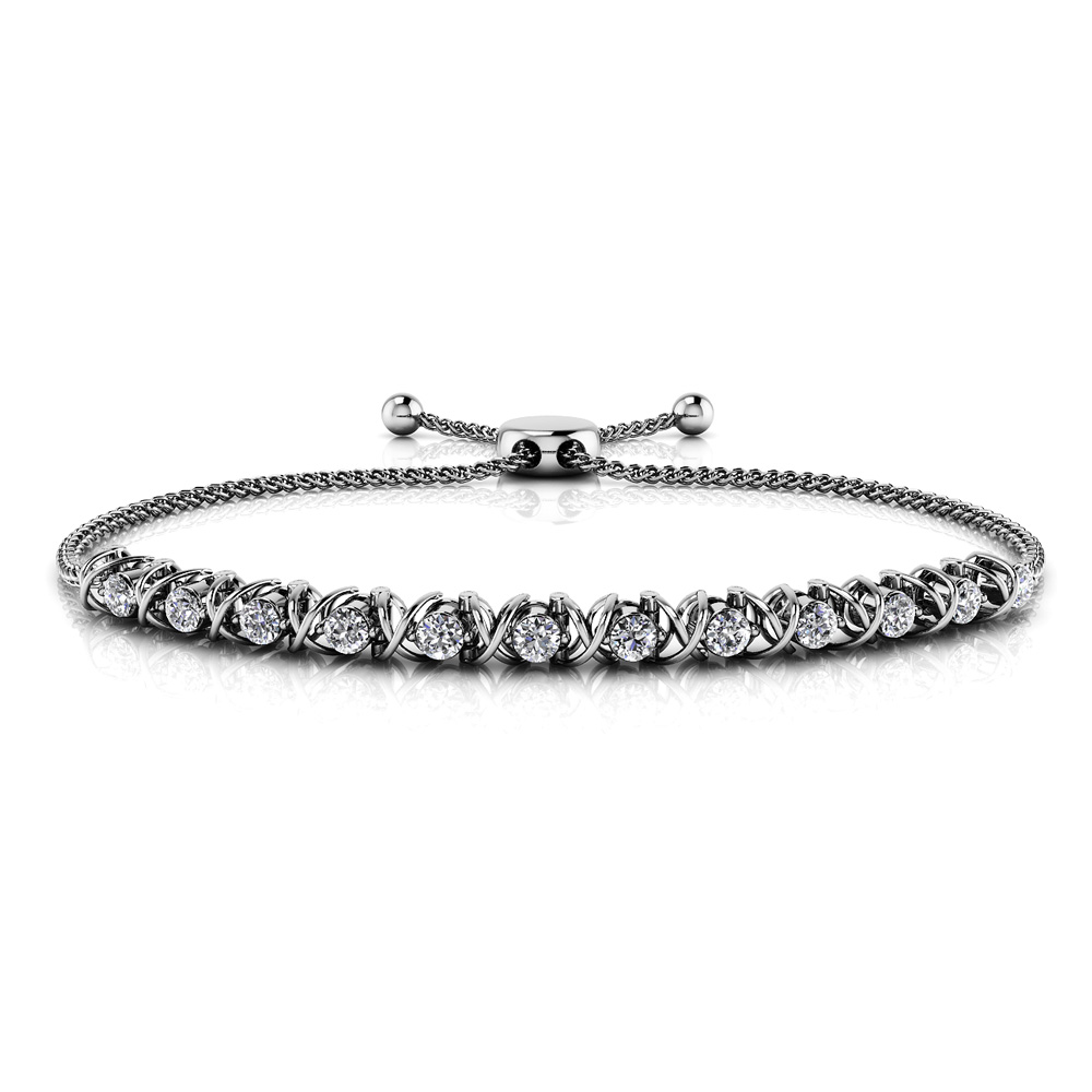 Image of Adjustable X Link Diamond Bracelet