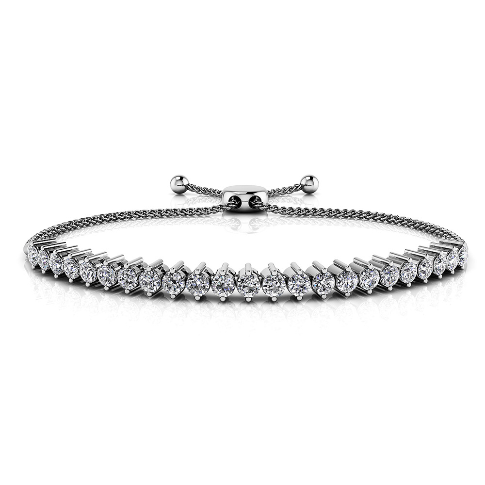 Image of 2 Prong Adjustable Diamond Tennis Bracelet