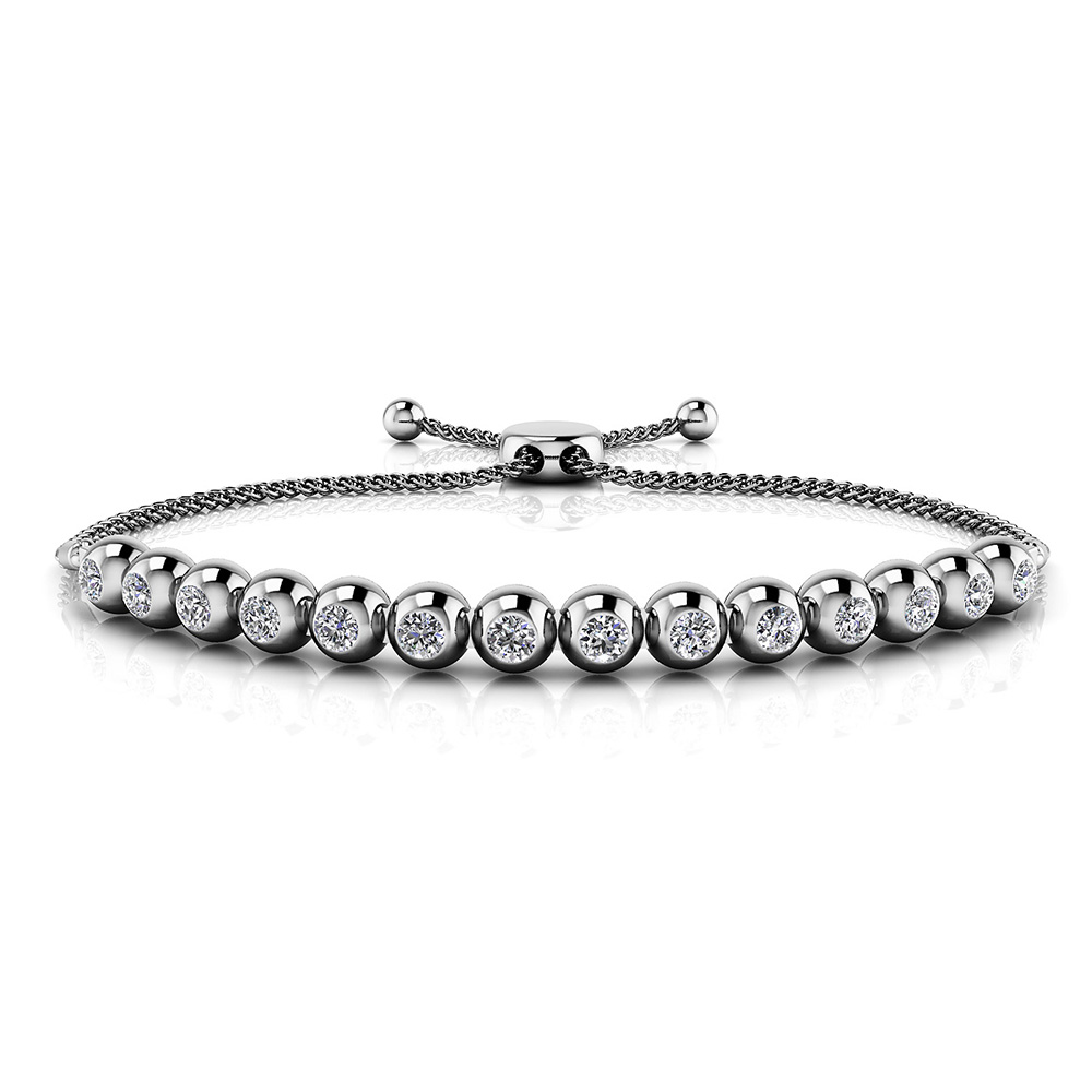 Image of Adjustable Bezel Set Diamond Tennis Bracelet