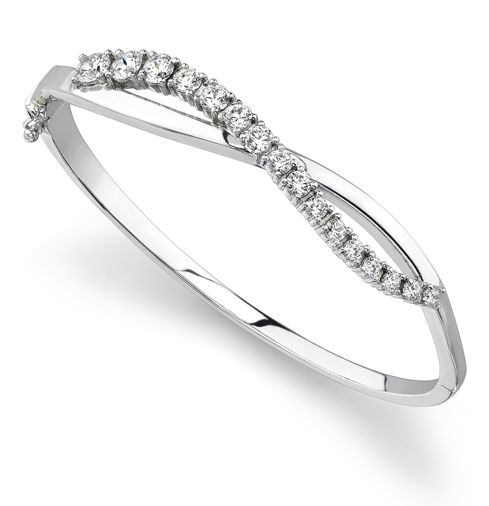 Image of Curved Accent Diamond Journey Bangle