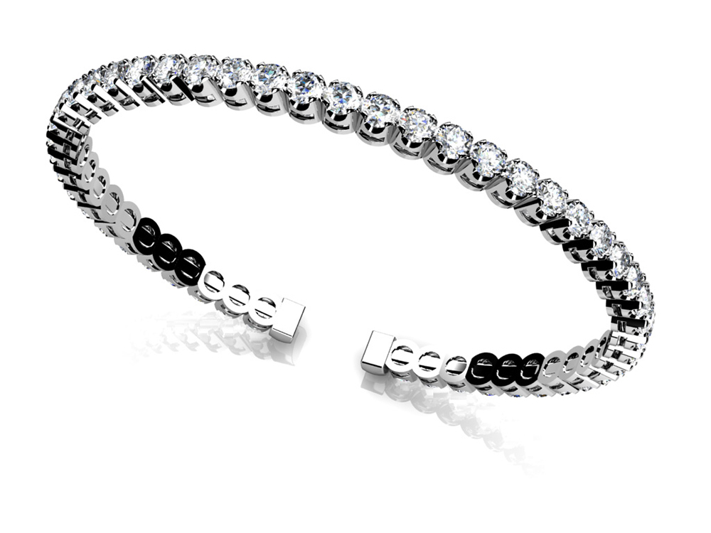 Image of Curved Prong Flexible Diamond Bangle Bracelet