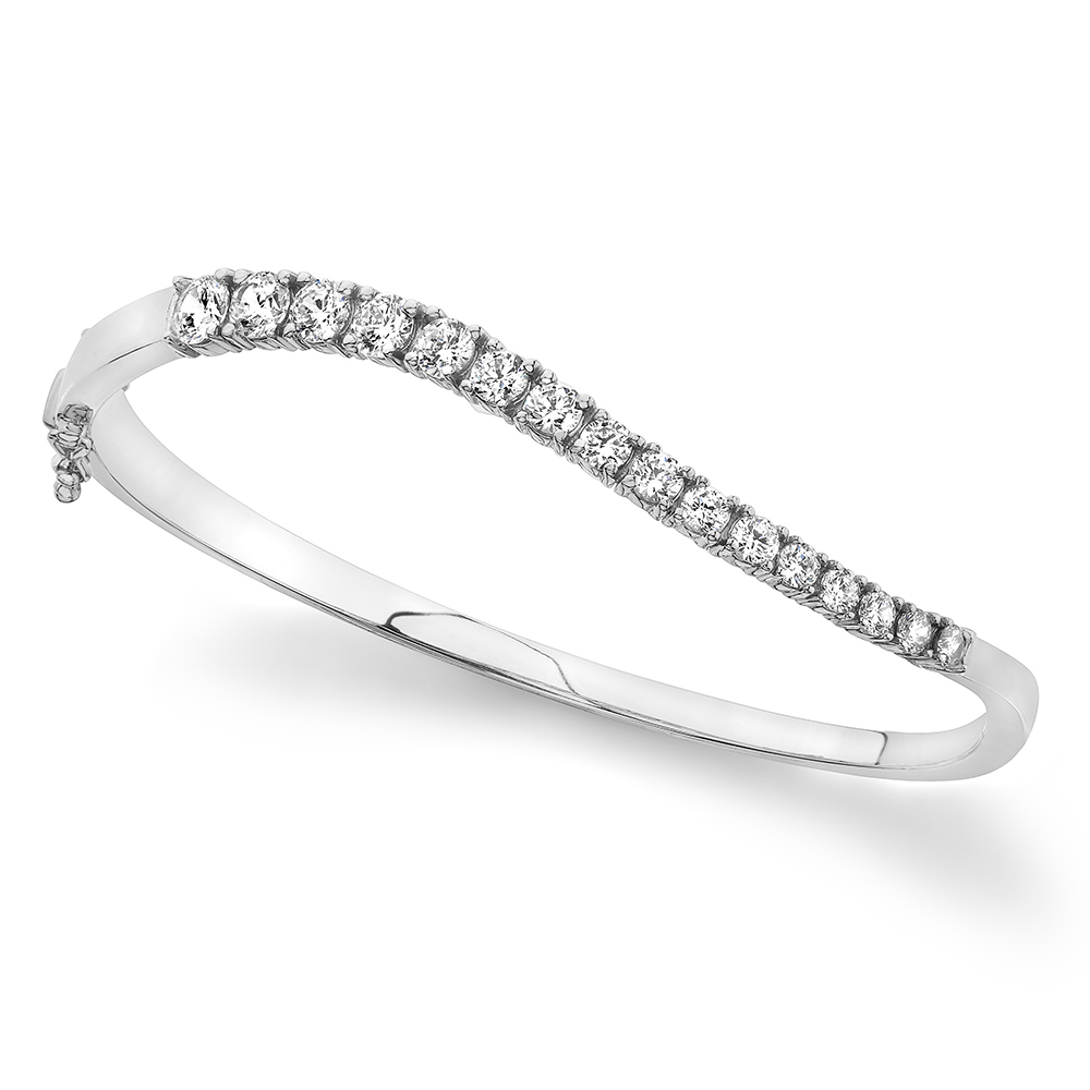 Image of Curved Diamond Journey Bangle