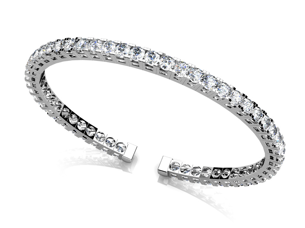 Image of Classic Four Prong Flexible Diamond Bangle