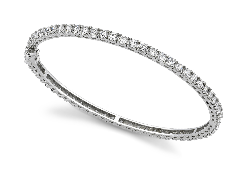Image of Classic Prong Set Diamond Bangle