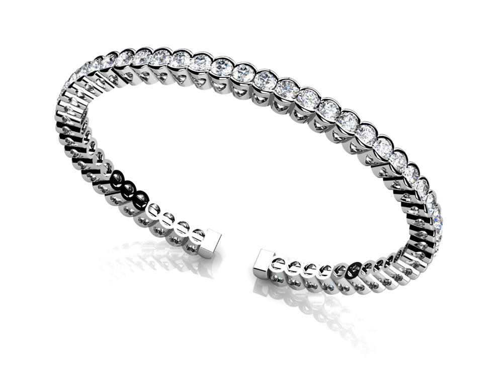 Image of Half Bezel Set Flexible Diamond Bangle