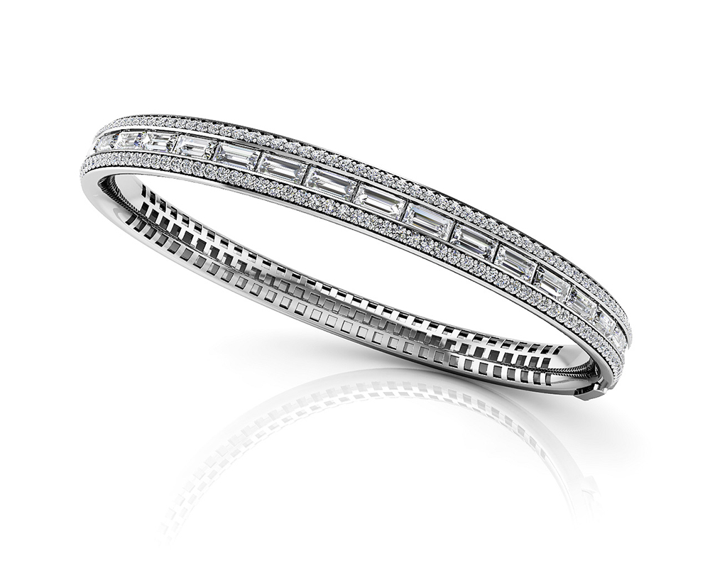 Image of Dazzling Baguette and Round Diamond Bangle