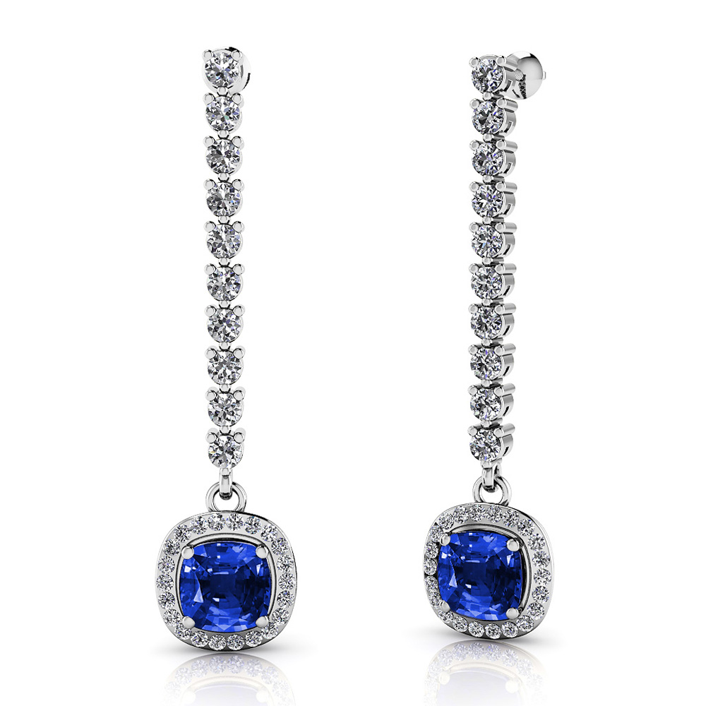 Image of Always Yours Cushion Diamond and Gemstone Earrings