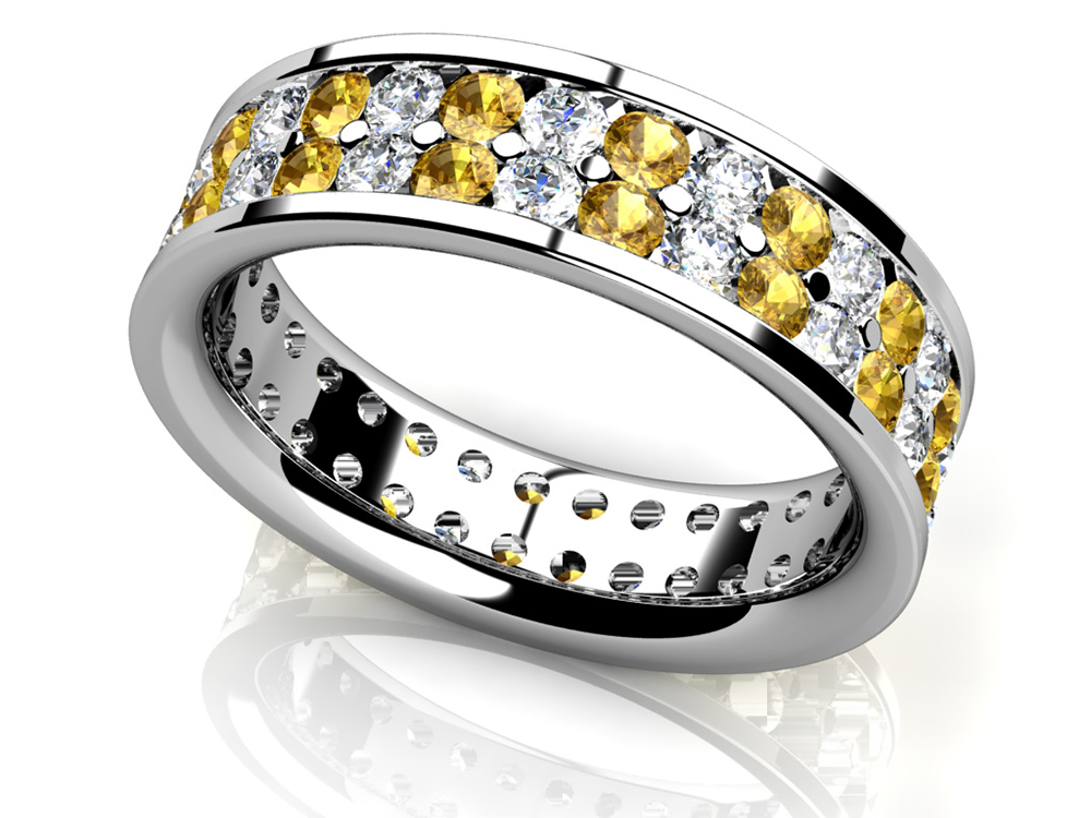 Image of Double Row Channel Set Gemstone Eternity Ring