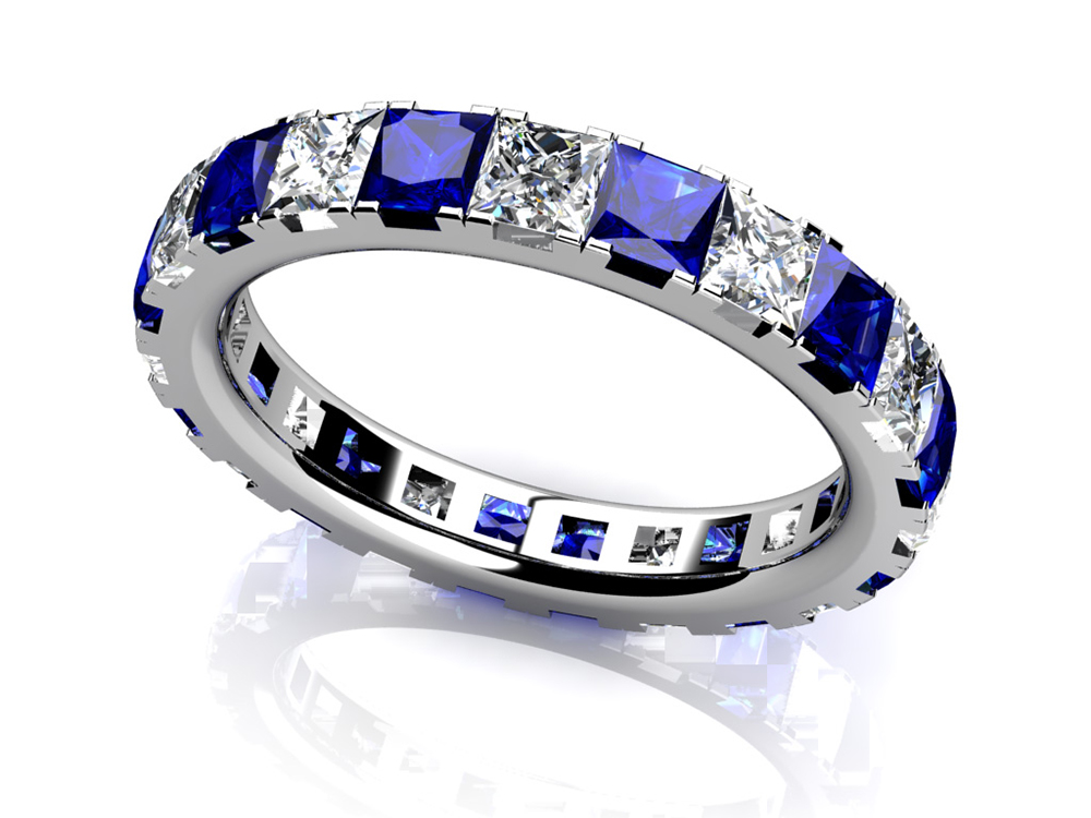 Image of Princess Cut Diamond and Gemstone Eternity Ring