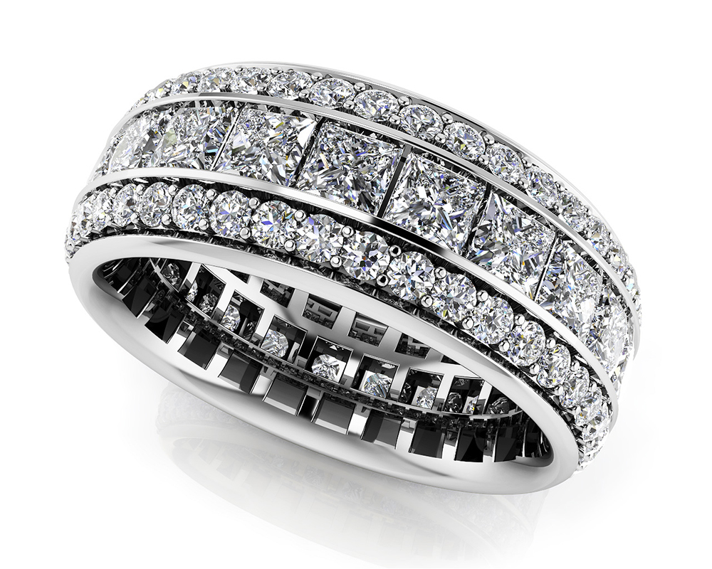 Image of Three Row Princess and Round Eternity Band