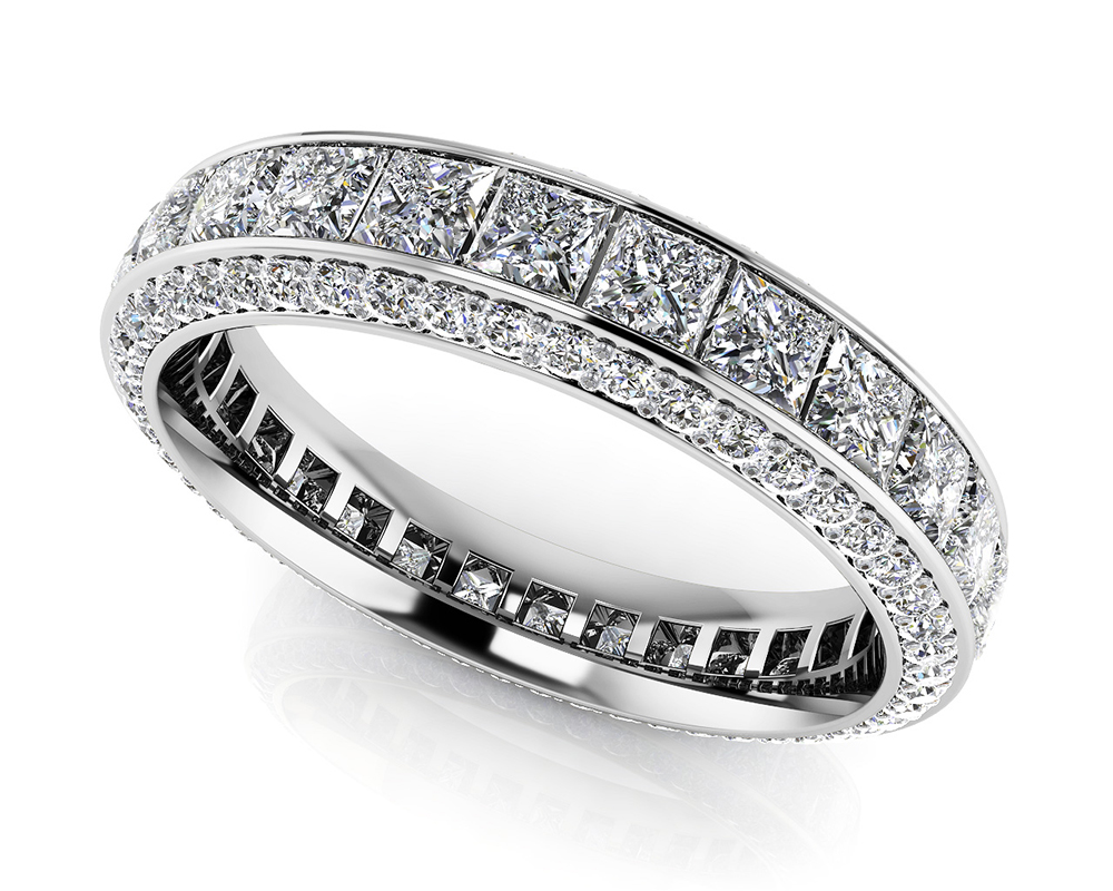 Image of Exquisite Princess and Round Eternity Band
