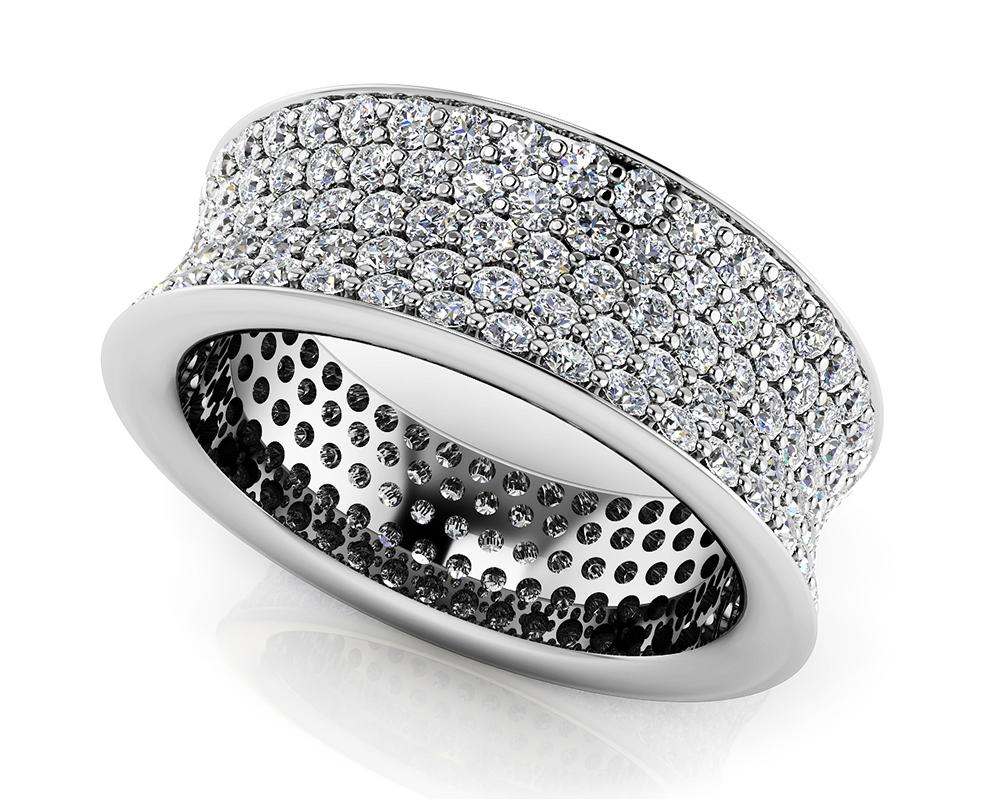 Image of Concave 5 Row Diamond Eternity Ring