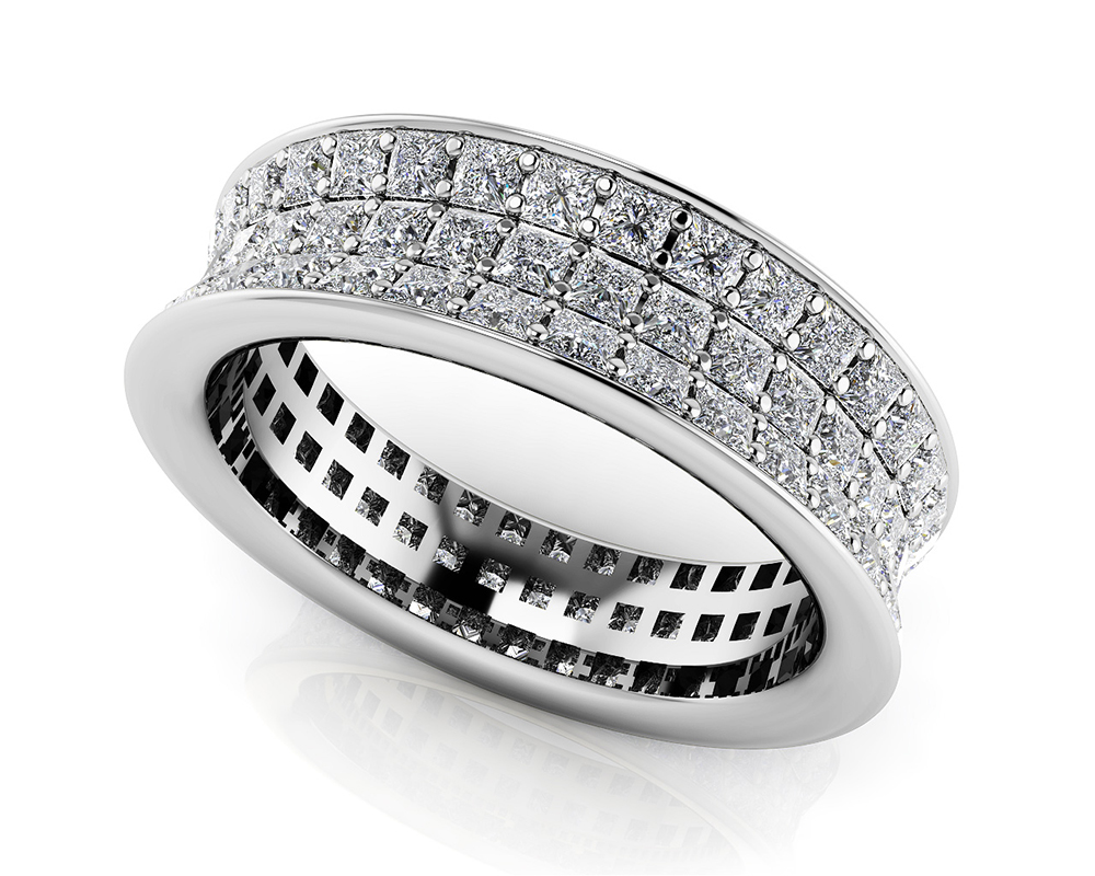 Image of Concave 3 Row Princess Cut Eternity Ring