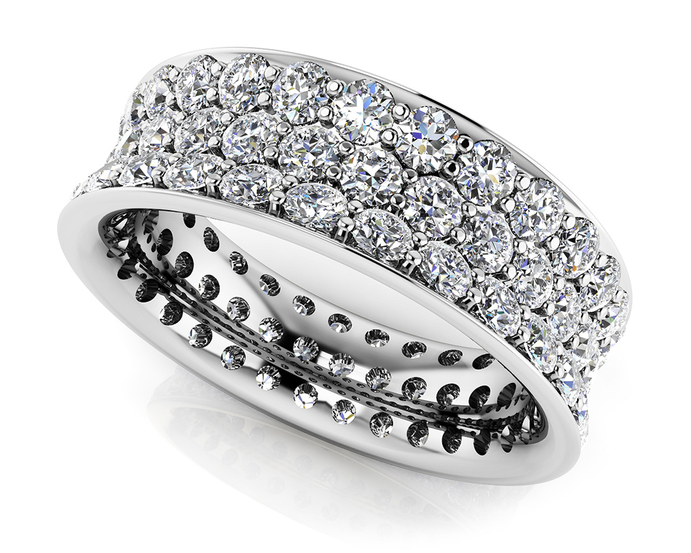 Image of Concave 3 Row Diamond Eternity Ring