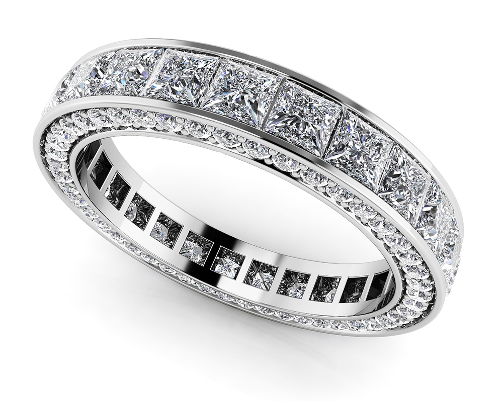 Image of Breathtaking Princess and Round Eternity Ring
