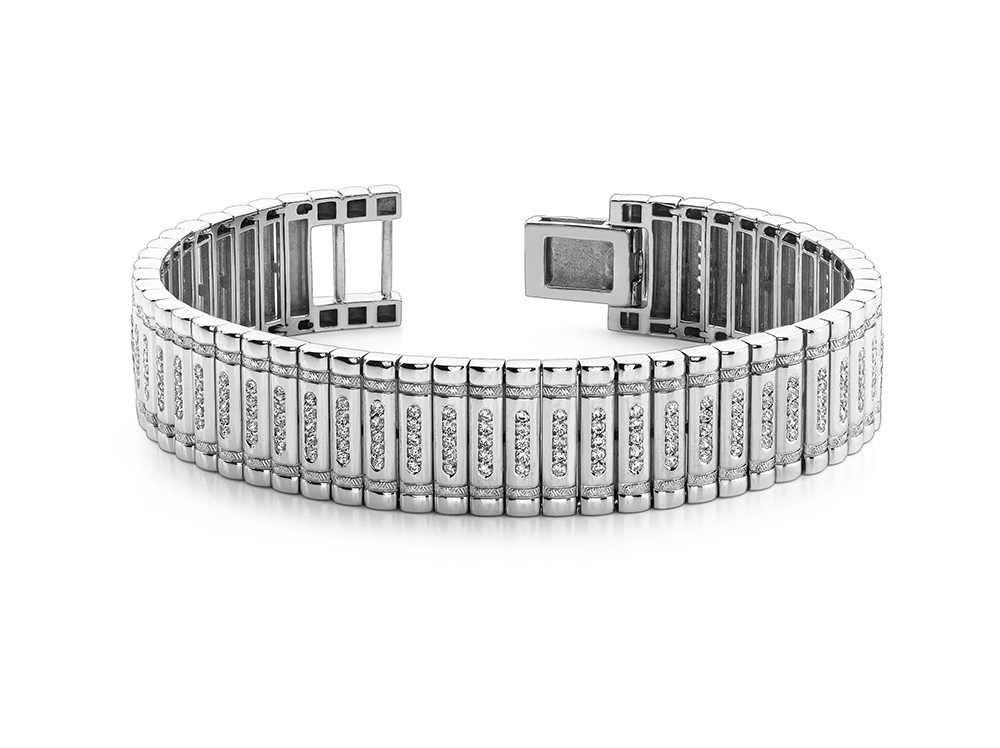 Image of Embedded Diamond Link Bracelet