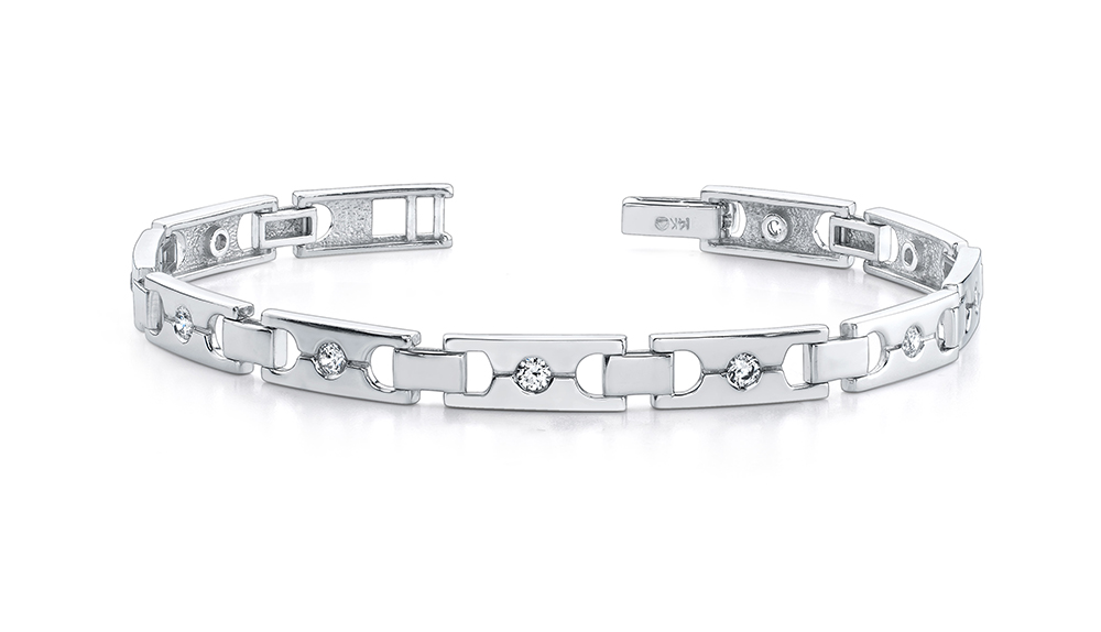 Image of Single Diamond Buckle Link Bracelet