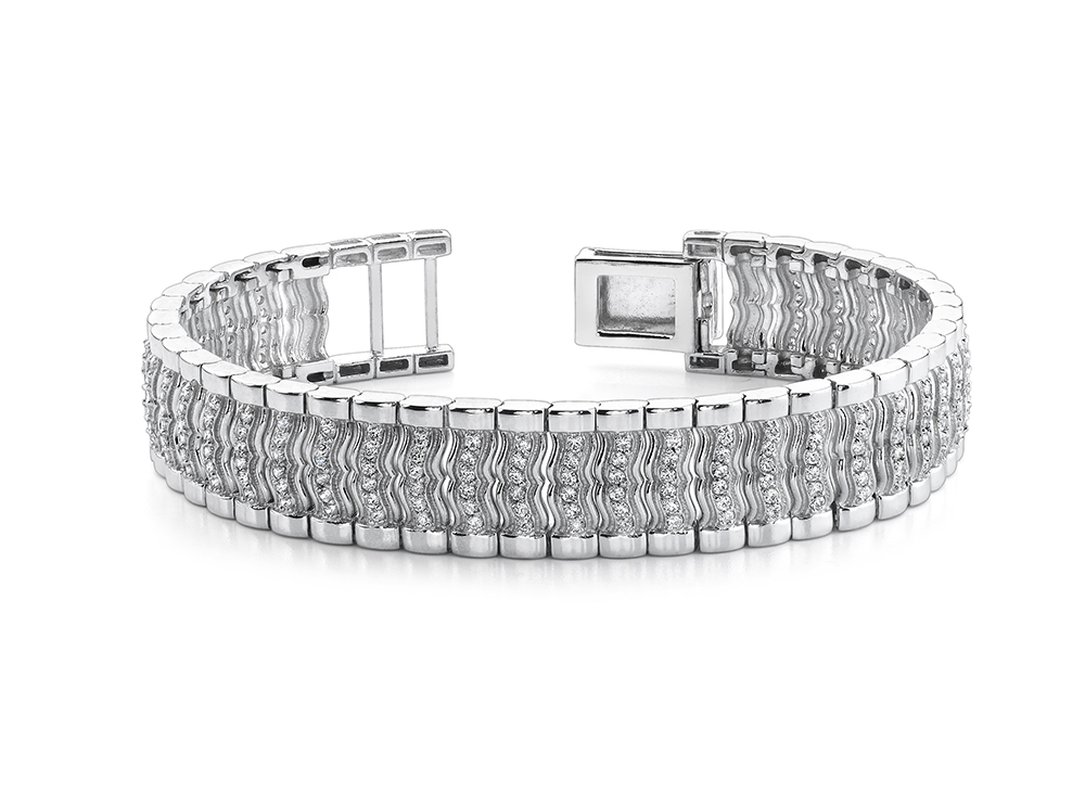 Image of Wavy Diamond Link Mens Bracelet
