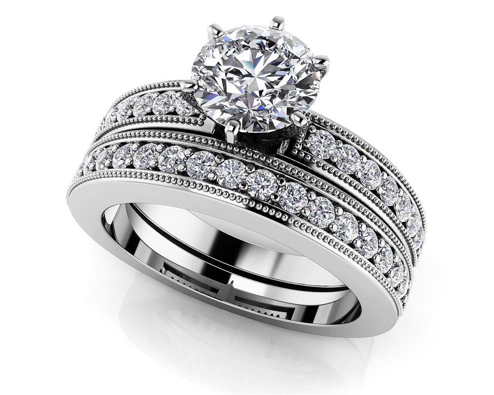 Image of Channel Diamond Bridal Set