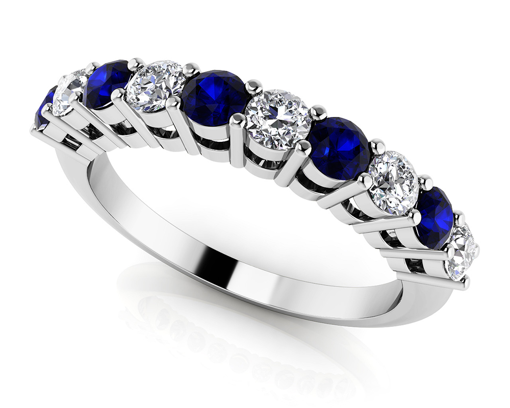 Image of Alternating Diamond and Gemstone Anniversary Ring