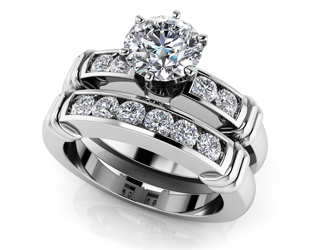 Image of Channel Diamond Flanked Bridal Set
