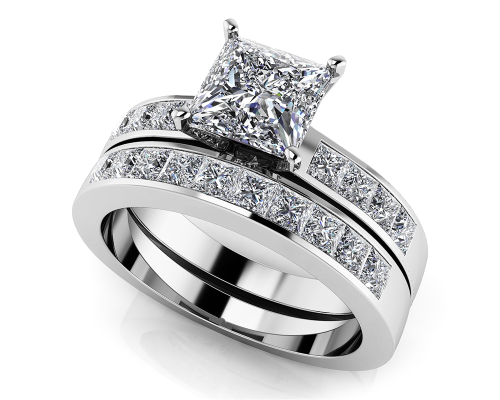 Image of Channel Set Princess Cut Diamond Bridal Set