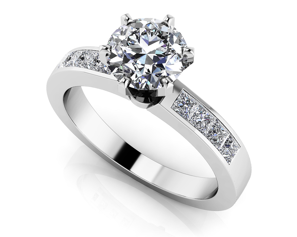 Image of Six Prong Center Stone Engagement Ring