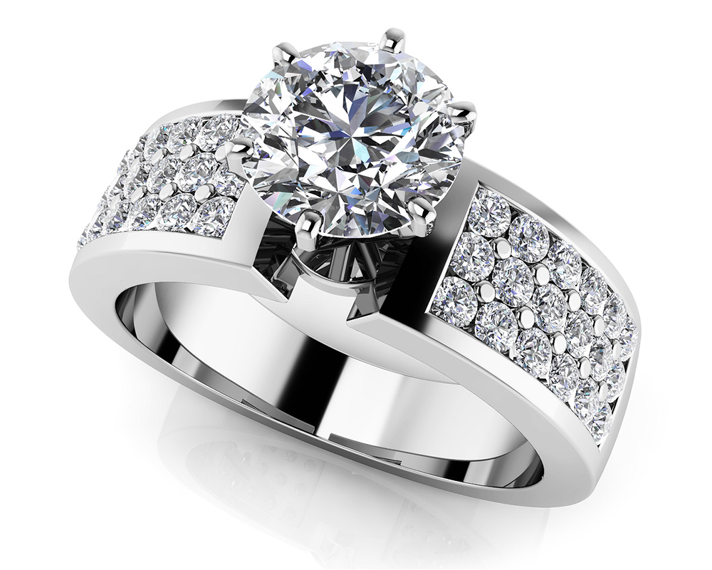 Image of Triple Channel 6 Prong Engagement Ring