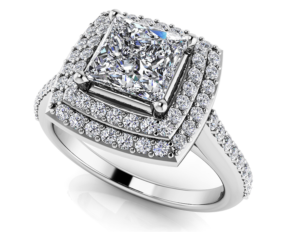 Image of Round and Princess Diamond Engagement Ring