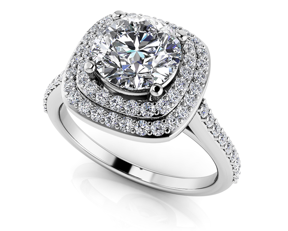 Image of Round Halo Diamond Engagement Ring