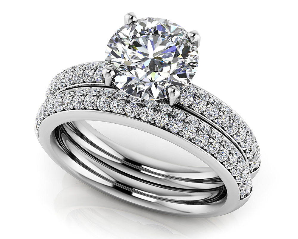 Image of Dazzling Four Row Diamond Engagement Set