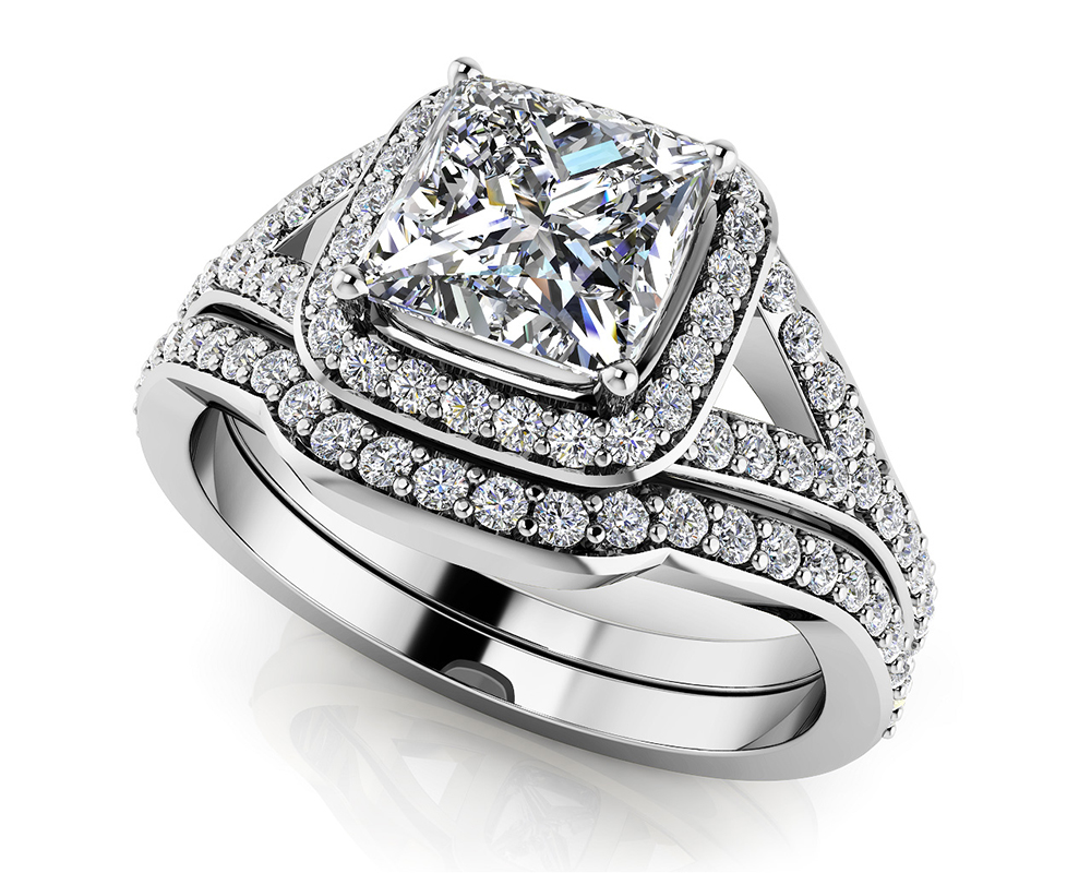 Image of Captivating Princess Cut Diamond Bridal Set