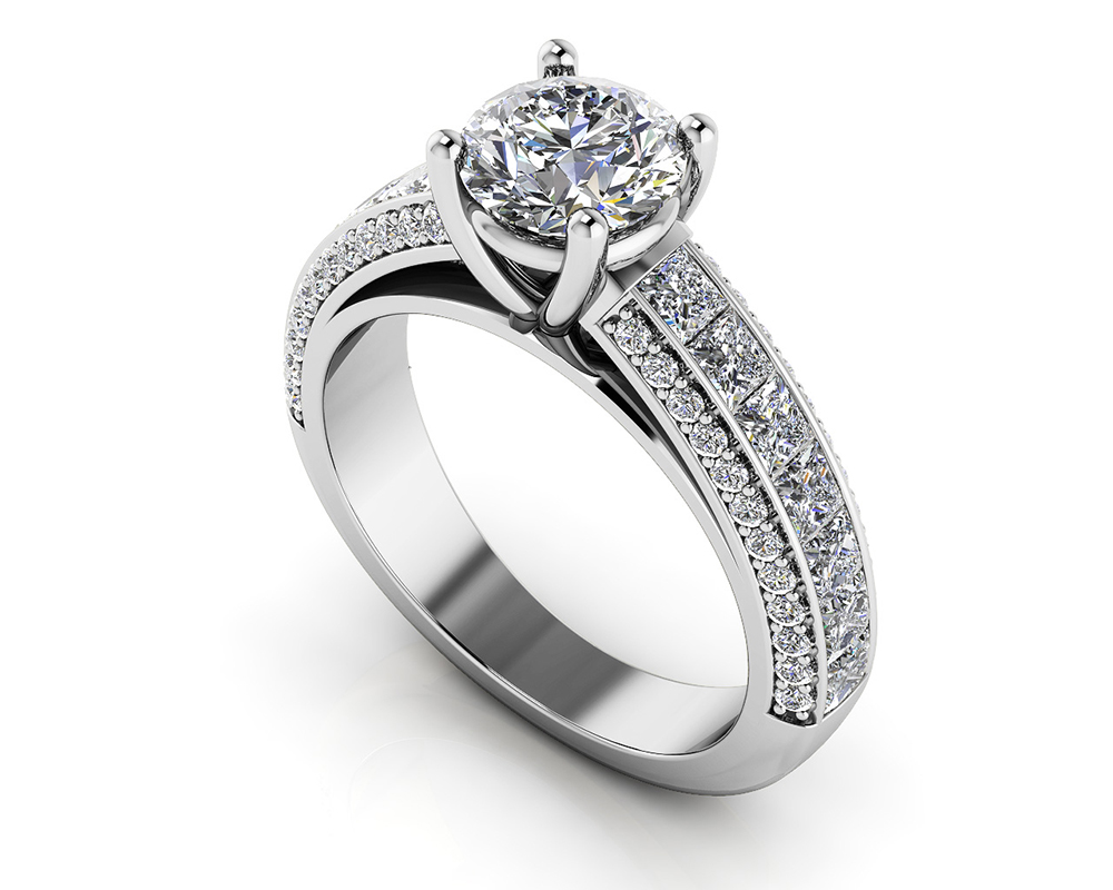 Image of Brilliant Round and Princess Cut Engagement Ring