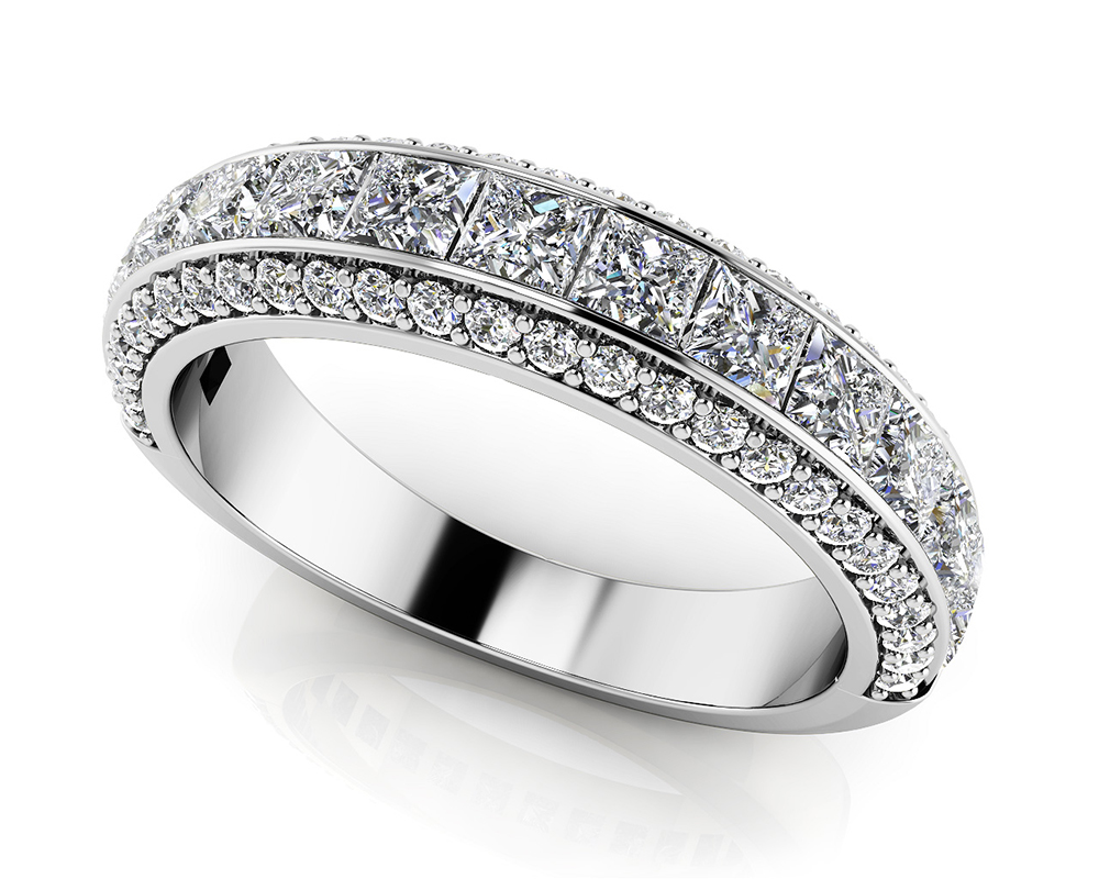 Image of Channel Set Princess and Round Anniversary Ring