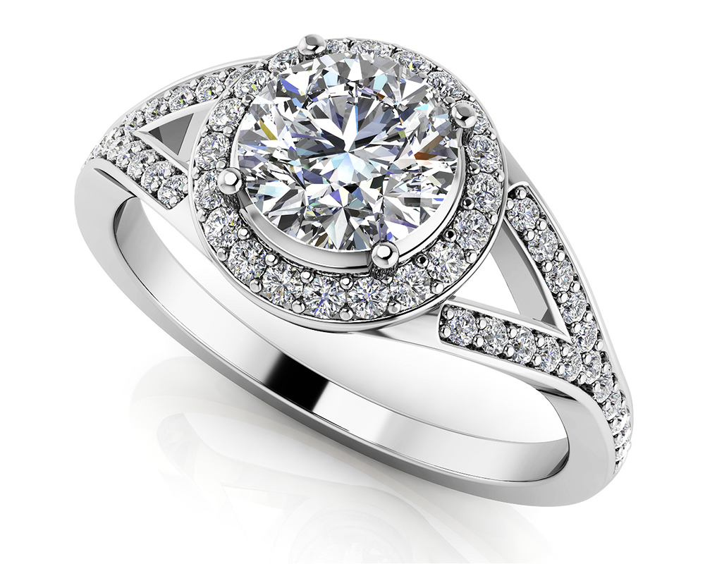 Image of Brilliant Round Halo Engagement Ring