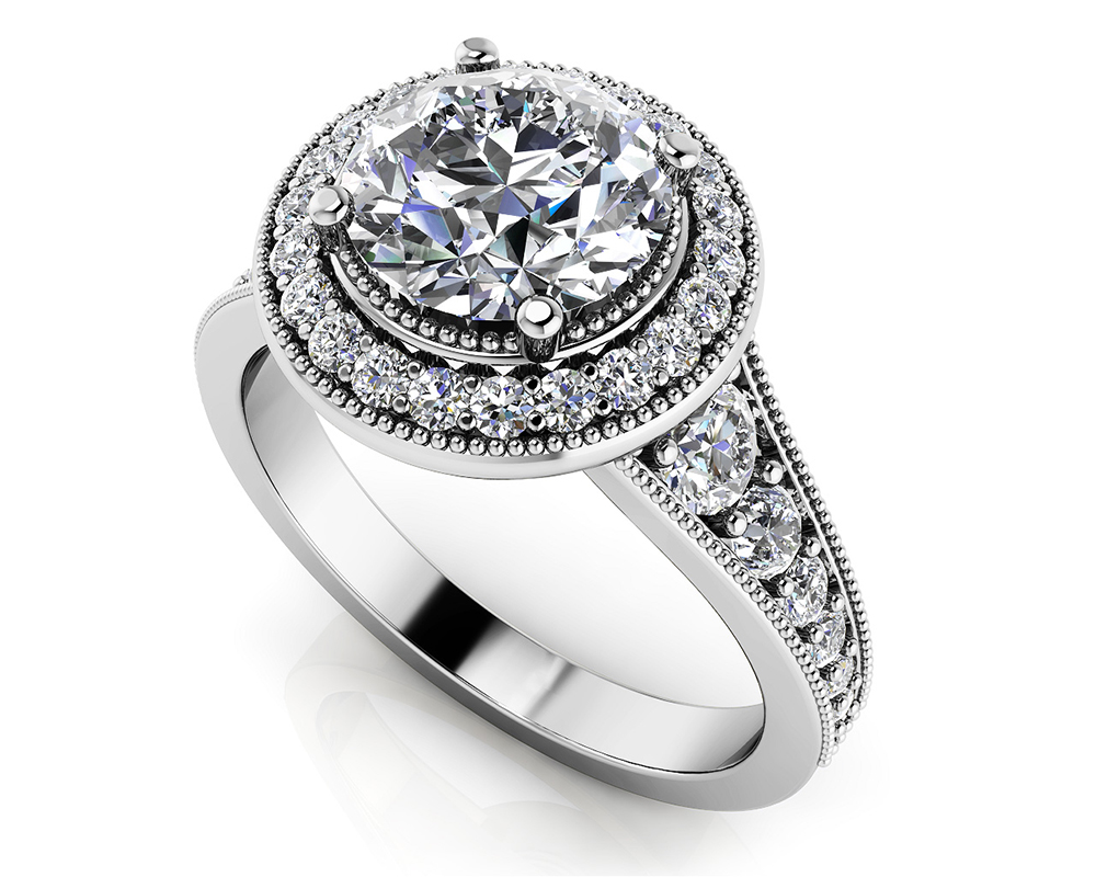 Image of Vintage Round Halo Engagement Ring
