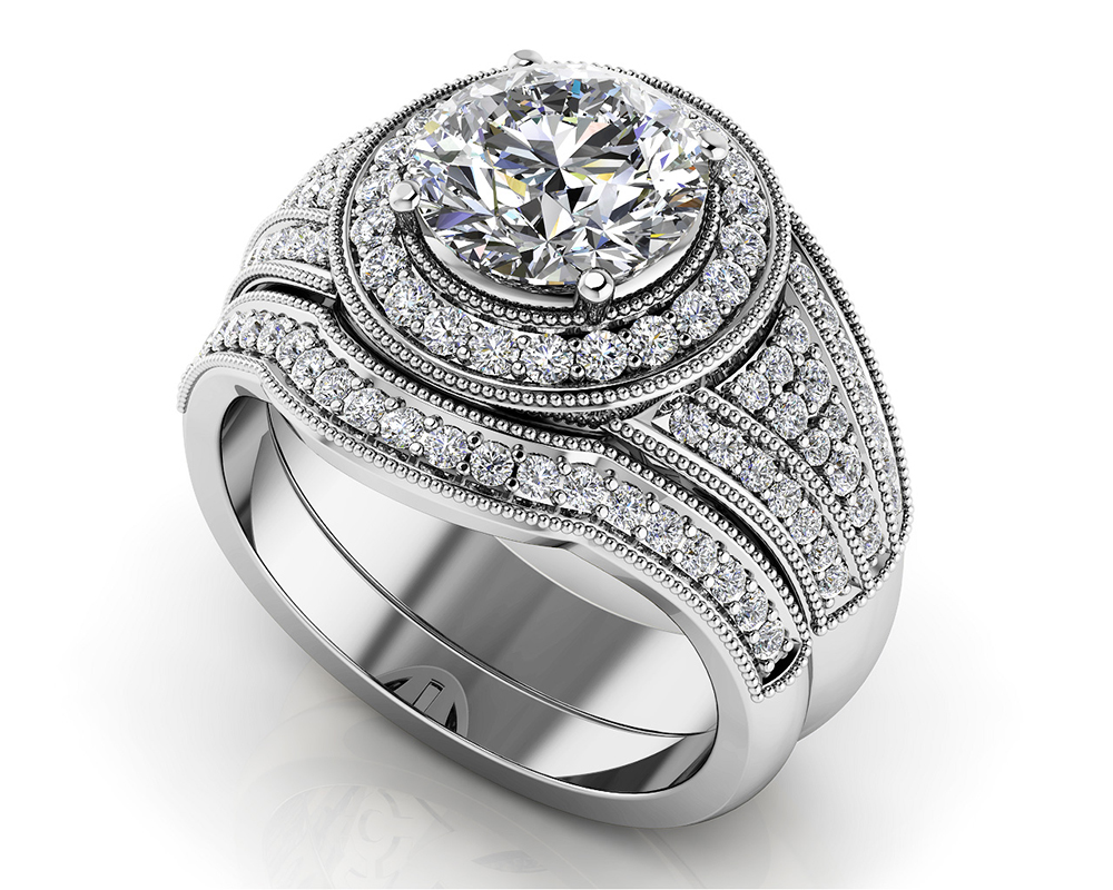 Image of Cascading Diamond Wedding Set