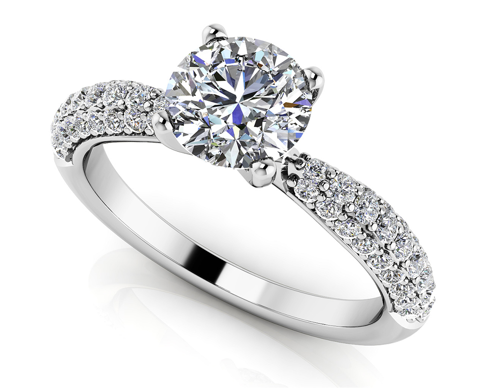 Image of Brilliant Diamond Engagement Ring with Side Stones
