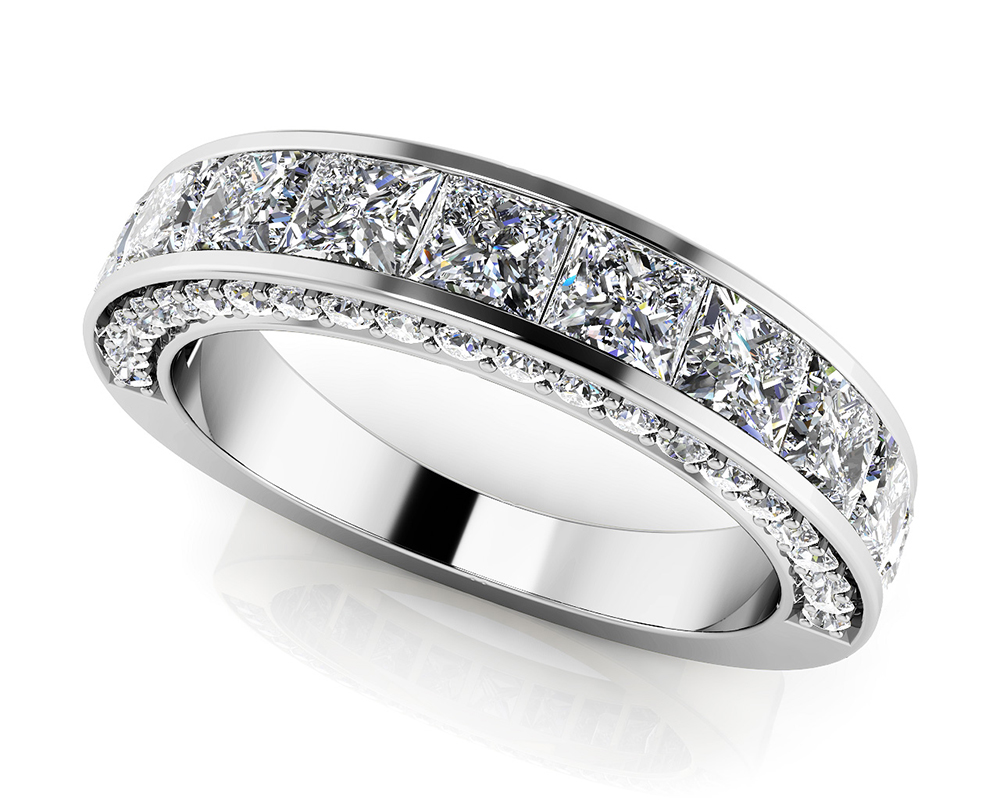Image of Glamorous Princess and Round Anniversary Ring