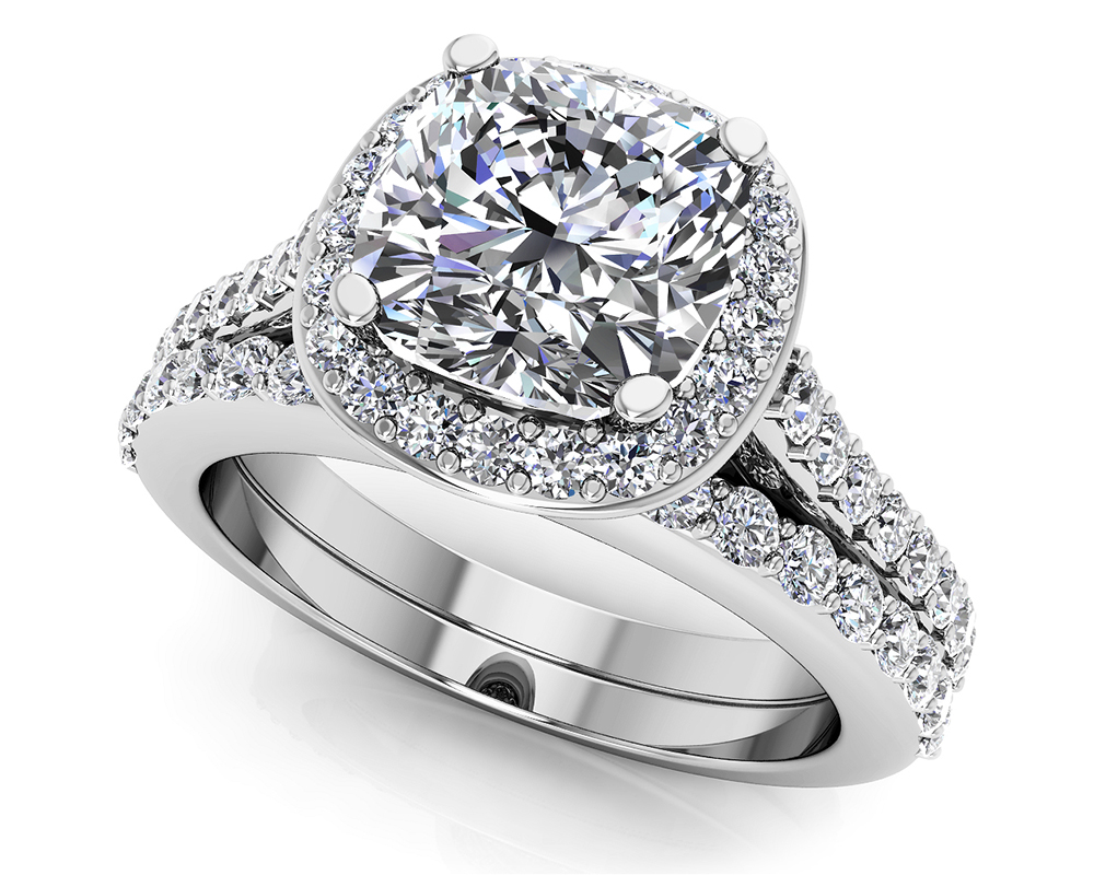 Image of Classic Love Cushion Cut Bridal Set