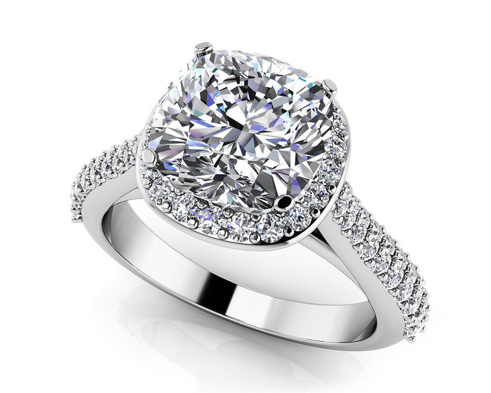 Image of Love Story Cushion Cut Engagement Ring