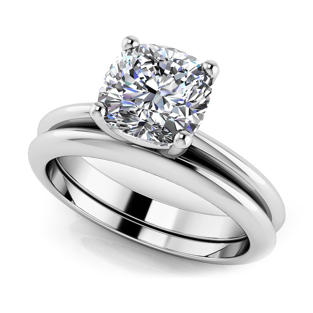 Image of Captivating Cushion Solitaire Bridal Set