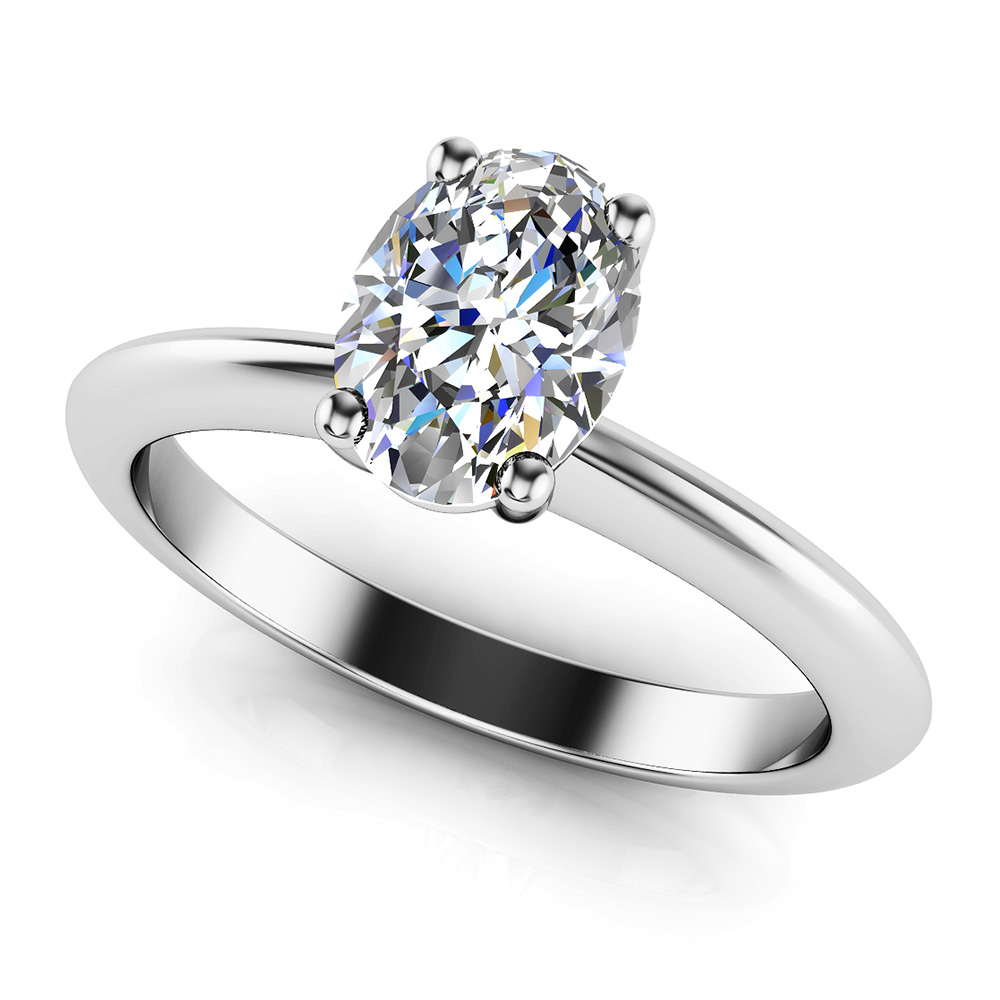 Love With No Limits Oval Solitaire Diamond Ring In White Yellow Gold Or Platinum