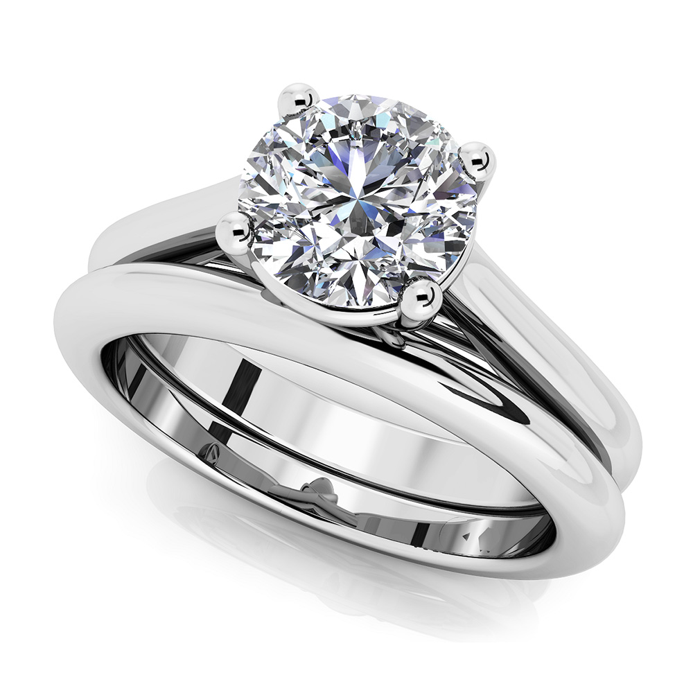 Image of Round Diamond Cathedral Bridal Set