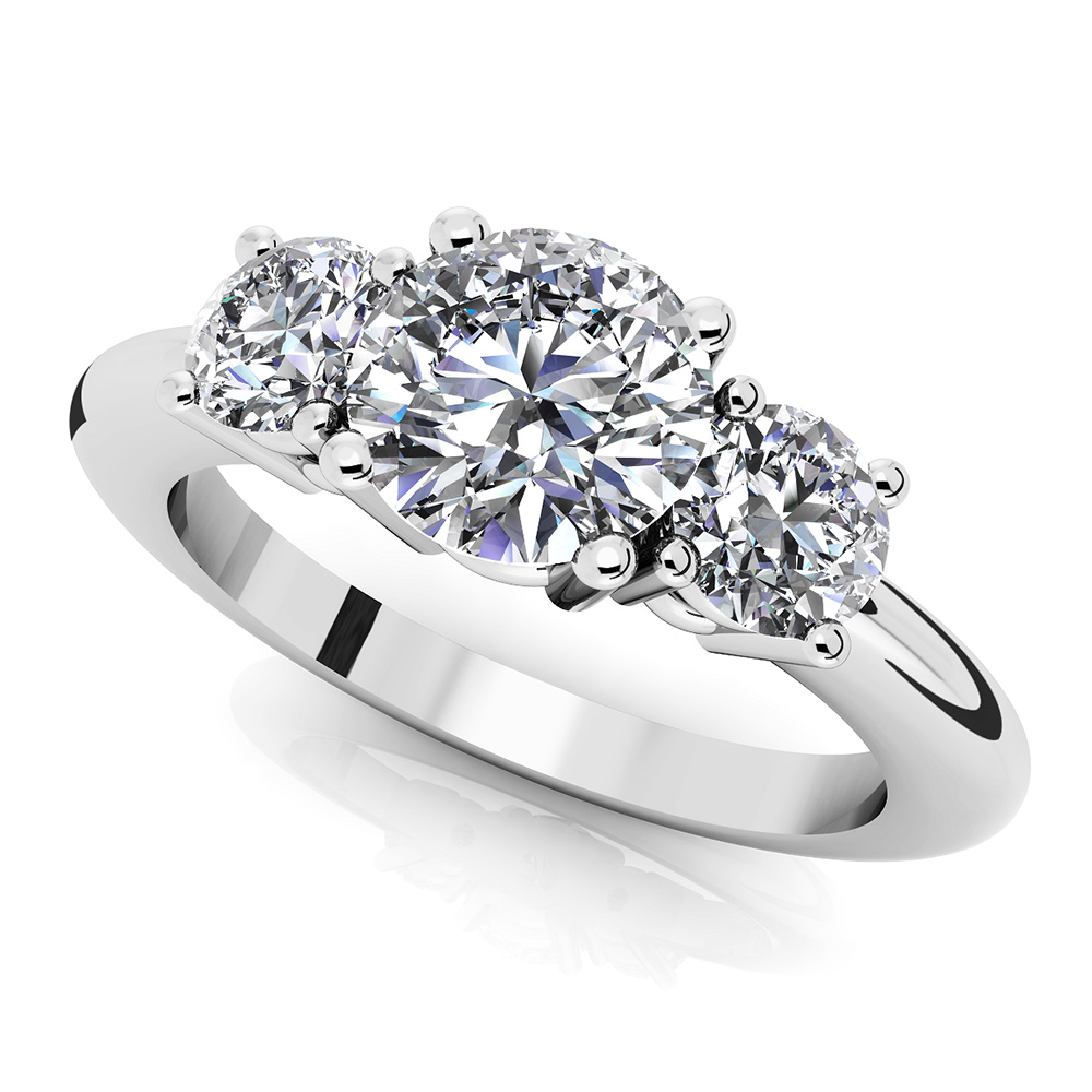 Image of Brilliant Round Diamond 3 Stone Ring