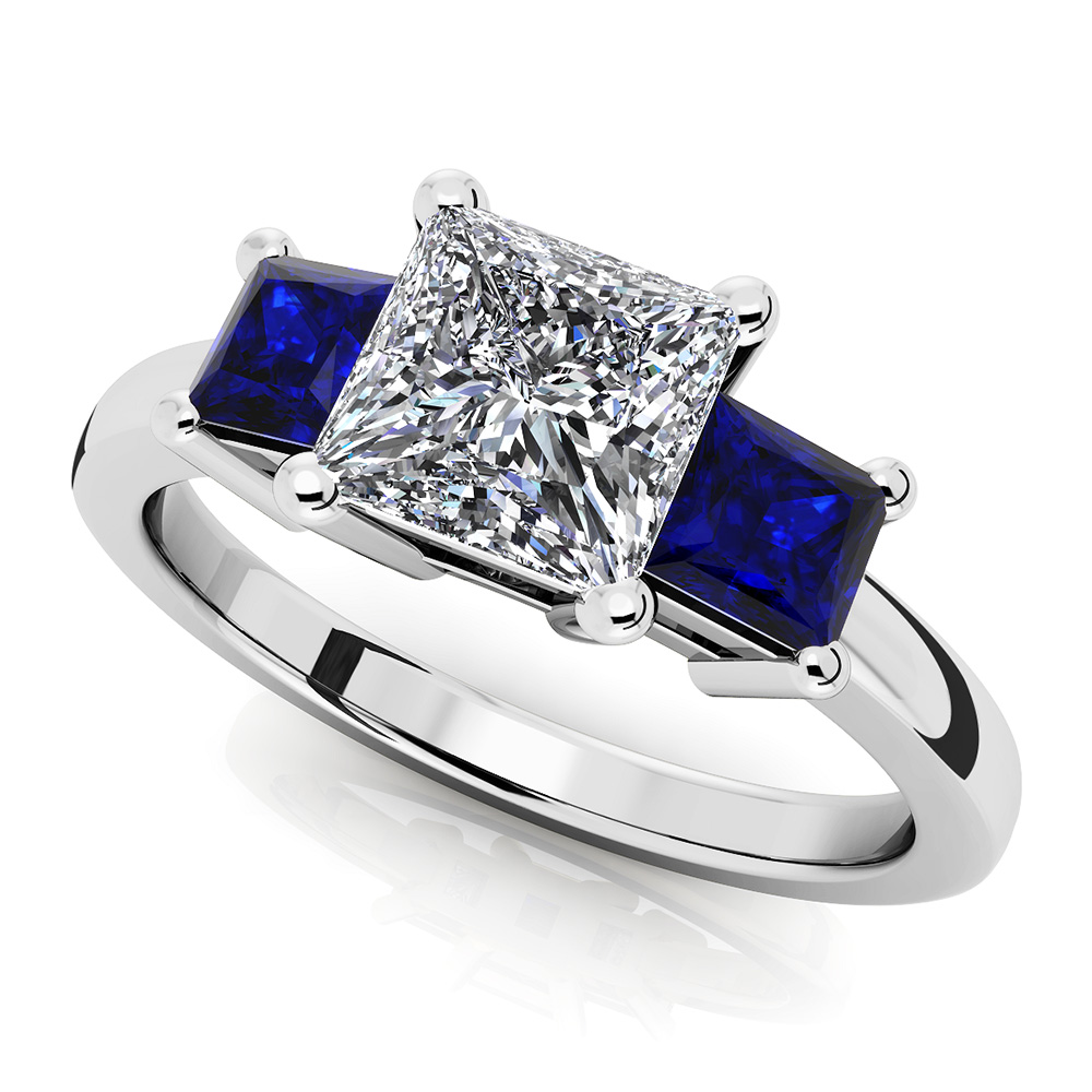 Image of 3 Stone Princess Gemstone Ring