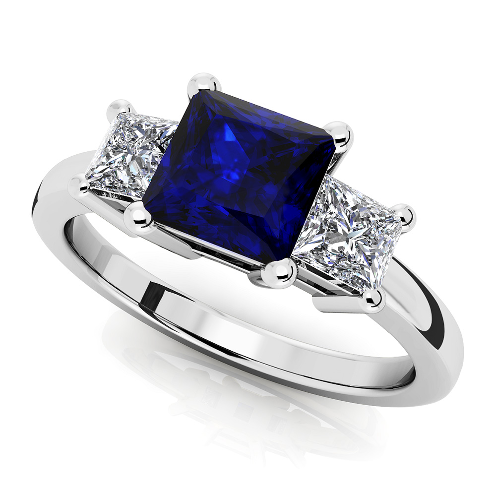 Image of 3 Stone Princess Diamond and Gem Ring