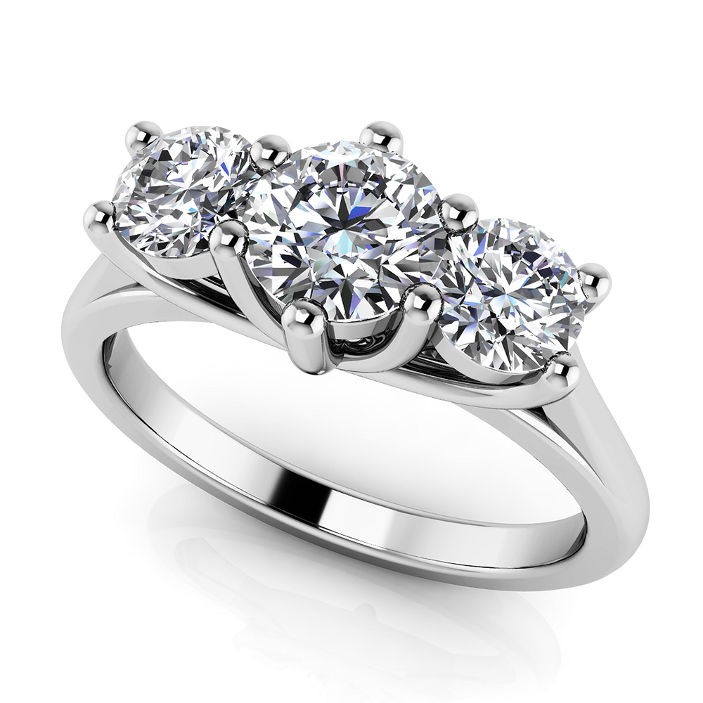 Image of 10 Prong Triple Stone Diamond Ring